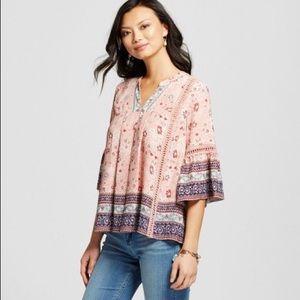 Knox Rose boho peasant top blouse size XS NWT